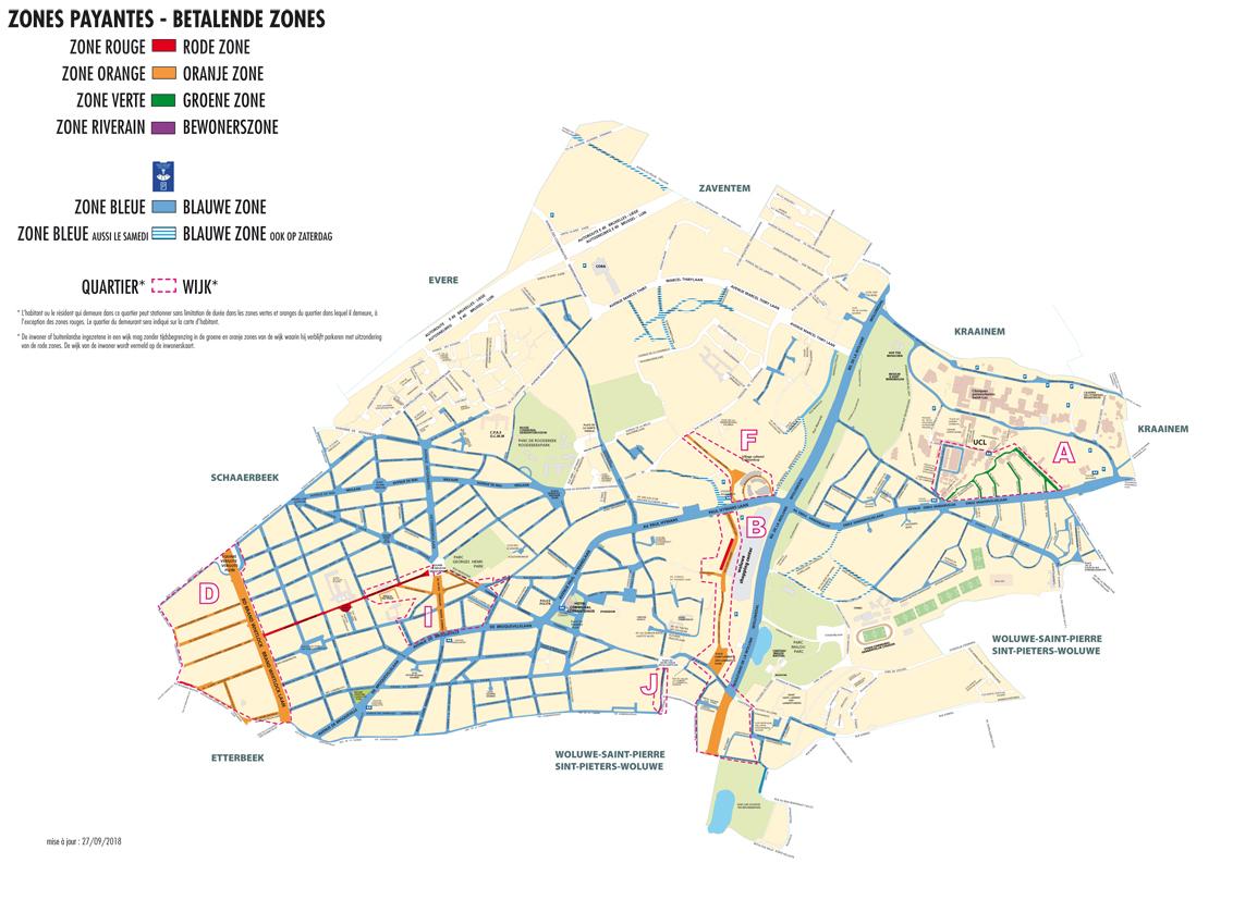 carte stationnement handicapé zone bleue Les zones payantes   Woluwe Saint Lambert Woluwe Saint Lambert
