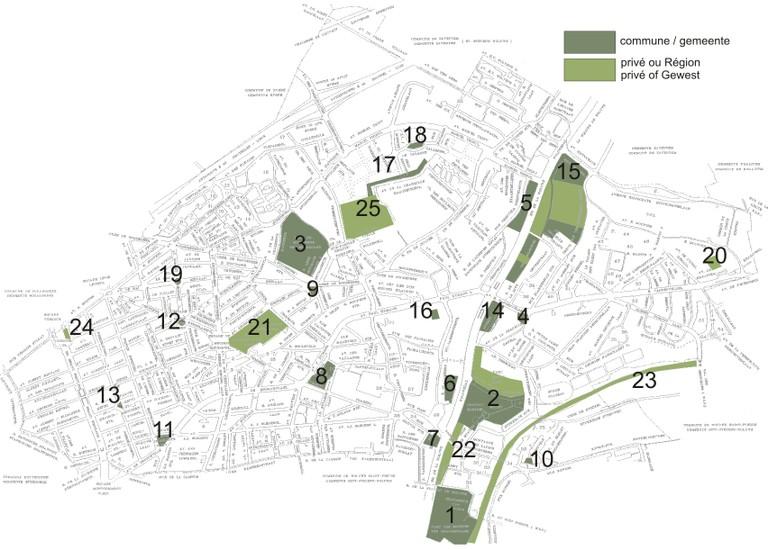 Les zones vertes à Woluwe-Saint-Lambert